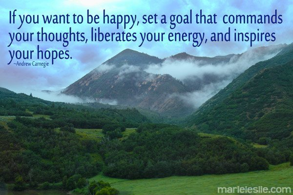 """""""If you want to be happy, set a goal that commands your thoughts, liberates your energy, and inspires your hopes."""" ~Andrew Carnegie"""