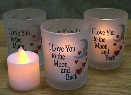 I Love You to the Moon & Back Frosted Glass Candle Holders