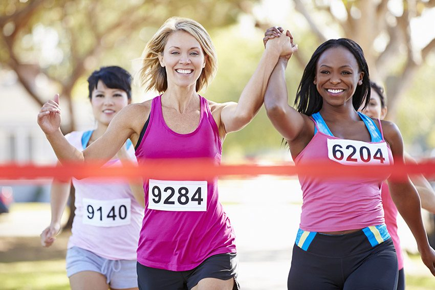 women completing a race